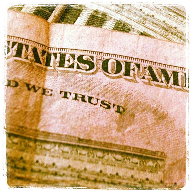 trust text from five dollar bill