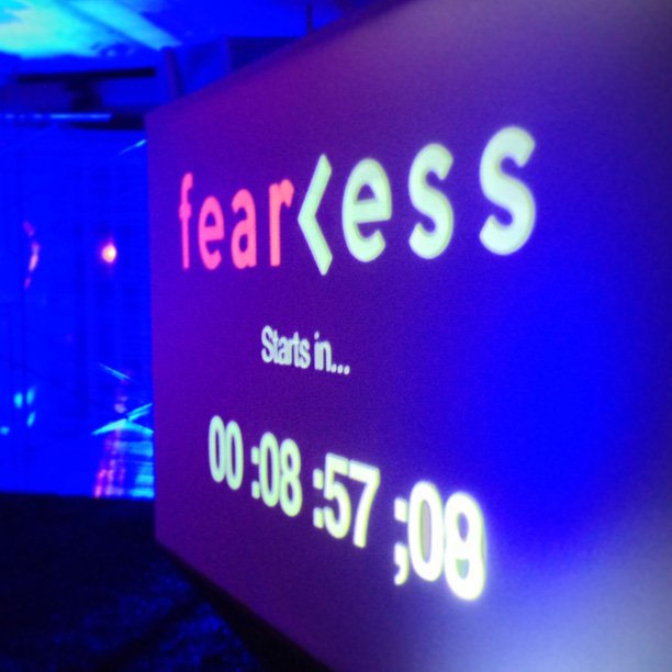 picture of the tedxaustin 2013 conference title and countdown clock. Fearless.
