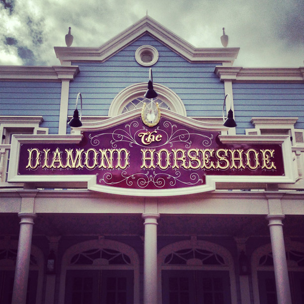 diamond horseshoe signage at the magic kingdom