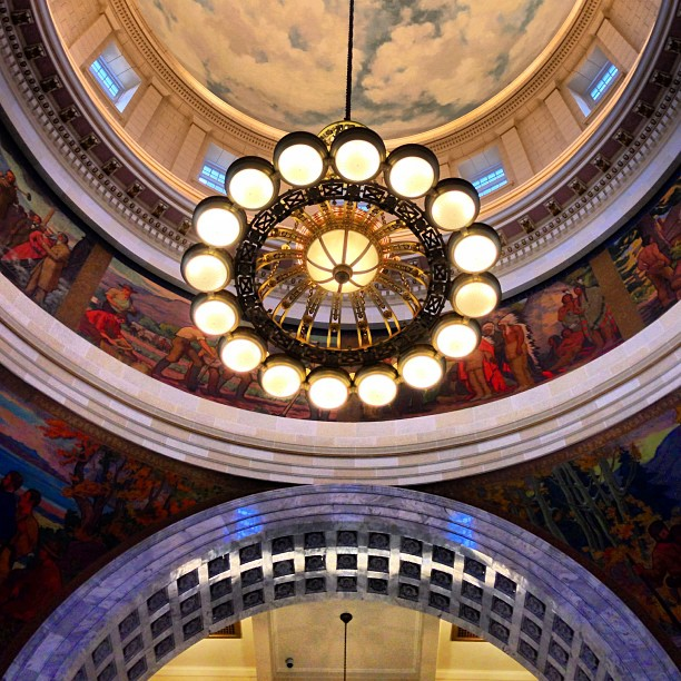 photo of light fixture in utah state capital