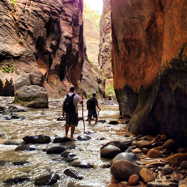 photo of hikers in the narrows