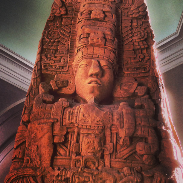 replica of mayan carvings